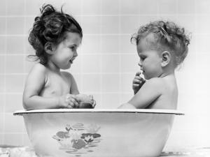 Two Baby Girls in Tub by H. Armstrong Roberts