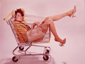 Woman in Supermarket Trolley by H^ Armstrong Roberts