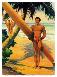 Surfers at the Beach, Hawaii, c.1942 by H. B. Christian