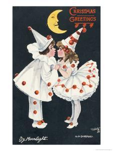 By Moonlight, Boy and Girl in Pierrot Costume Look at Each Other and Like What They See by H.d. Sandford