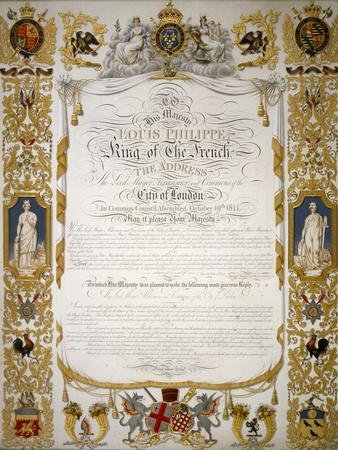 Illuminated Address from the Corporation of London to Louis Philippe of France, 1844