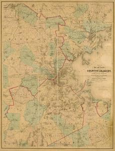 Map of Boston, c.1860 by H. F. Walling