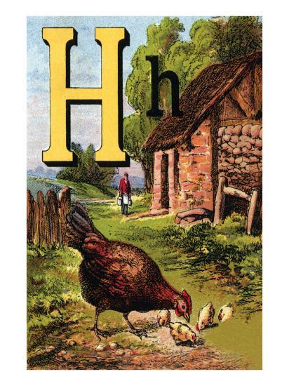 H For the Hen, of Her Chicks So Fond-Edmund Evans-Art Print