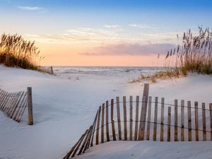 Sunrise at Pensacola Beach Florida with Sea Oats and Dune Fence by H J Herrera