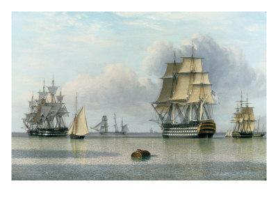 H.M.S. Britannia and Other Shipping in Calm Waters-John Of Hull Ward-Giclee Print