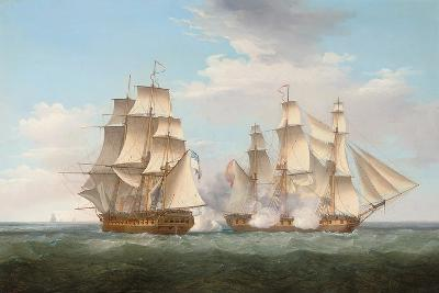 H.M.S. Ethalion in Action with the Spanish Frigate Thetis Off Cape Finisterre-Thomas Whitcombe-Giclee Print