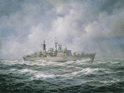 "H.M.S. ""Exeter"" at Sea, 1990-Richard Willis-Giclee Print"