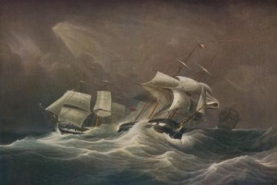 H.M.S. Indefatigable Engaging The French Droits-De-LHomme,1797, 1829-Edward Duncan-Giclee Print