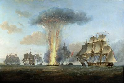 H.M.S. 'Lively' Capturing the Spanish Frigate 'Clara' Off Cape St. Mary, C.1806-Nicholas Pocock-Giclee Print