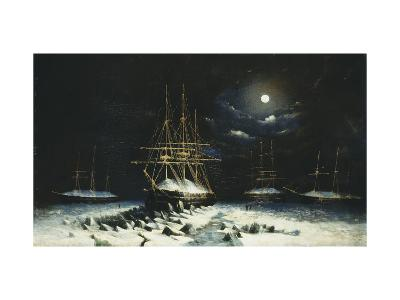 H.M.S Resolute, Assistance, Intrepid and Pioneer wintering in the Arctic, 1850-51--Giclee Print