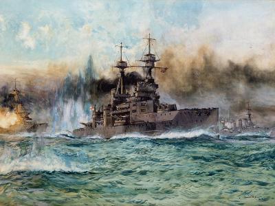H.M.S Vanguard at the Battle of Jutland, 1924-Charles Edward Dixon-Giclee Print