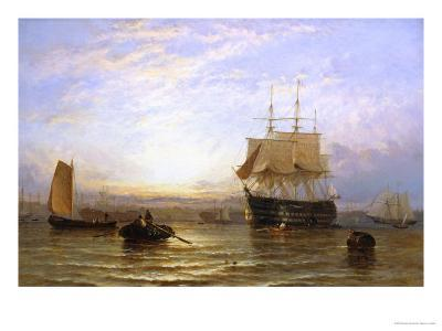 H.M.S. Wellington in Portsmouth Harbor-George Stainton-Giclee Print