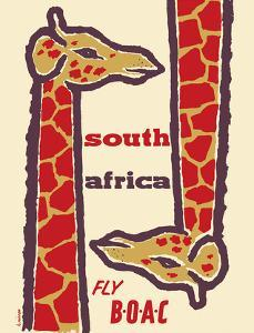 South Africa- Giraffes - Fly BOAC (British Overseas Airways Corporation) by H^ Niezen