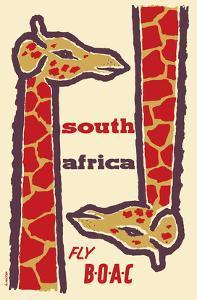 South Africa- Giraffes - Fly BOAC (British Overseas Airways Corporation) by H^ Niezen