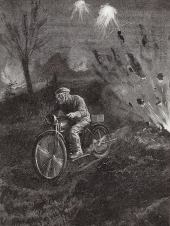 Lance-Corporal C C Parrott Carrying Messages on His Motor-Bicycle Along Roads Swept by Shellfire