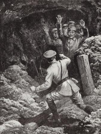 Lieutenant Morland Making Prisoners of Eighteen Germans in a Mine at Givenchy, France, May 1915