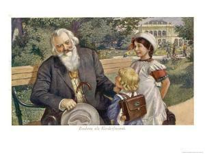 Johannes Brahms German Musician with Child Friends by H. Schubert