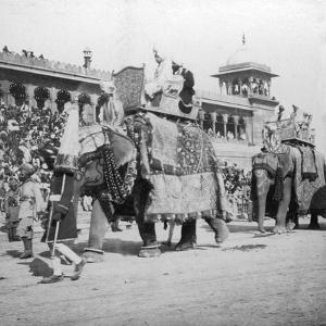 An Elephant Procession Passing Jumma Masjid, Delhi, India, 1900s by H & Son Hands