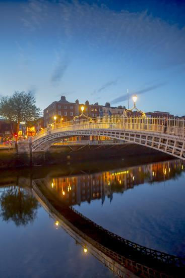 Ha'Penny Bridge and River Liffey at Dusk-Tim Thompson-Photographic Print