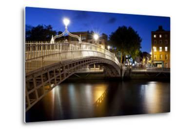 Ha'Penny Bridge Lit Up at Dusk, Liffey River, Dublin, Leinster Province, Republic of Ireland