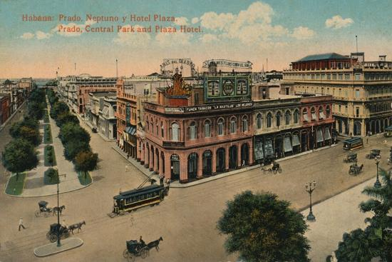 Habana: Prado, Neptuno y Hotel Plaza. Prado, Central Park and Plaza Hotel, c1910-Unknown-Giclee Print