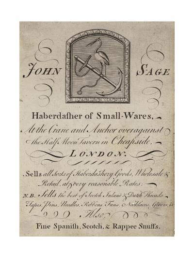 Haberdashers, John Sage, Trade Card--Giclee Print