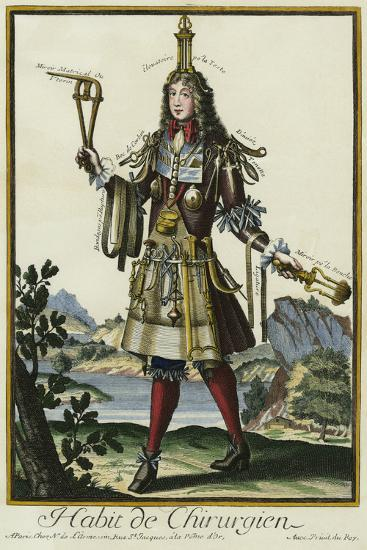 Habit de Chirurgien (A Fantasy Costume of a Surgeon with Various Attributes of His Profession)--Giclee Print