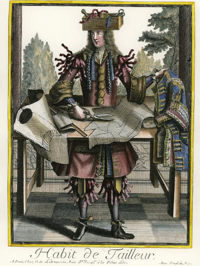 Habit de Tailleur (Fantasy costume of a Men's Tailor with Attributes of His Trade)-Nicolas II de Larmessin-Giclee Print