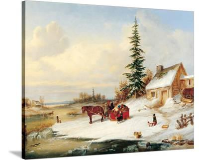 Habitants by a Frozen River-Cornelius Krieghoff-Stretched Canvas Print