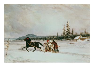 Habitants Sleighing, c.1855-Cornelius Krieghoff-Giclee Print