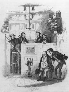 Mr. Pickwick and Sam in the Attorney's Office, Illustration from 'The Pickwick Papers' by Hablot Knight Browne