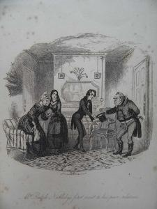 Mr Ralph Nickleby's First Visit to His Poor Relations, 1838 by Hablot Knight Browne