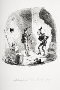 Nicholas Instructs Smike in the Art of Acting, Illustration from 'Nicholas Nickleby' by Charles… by Hablot Knight Browne