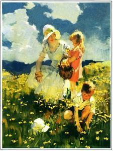 """""""Family in Field of Buttercups,""""June 1, 1929 by Haddon Sundblom"""