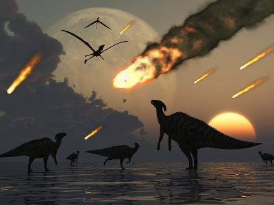 Hadrosaurs Graze Peacefully as Burning Meteors Fall Through the Sky-Stocktrek Images-Photographic Print