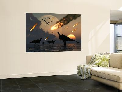 Hadrosaurs Graze Peacefully as Burning Meteors Fall Through the Sky-Stocktrek Images-Wall Mural