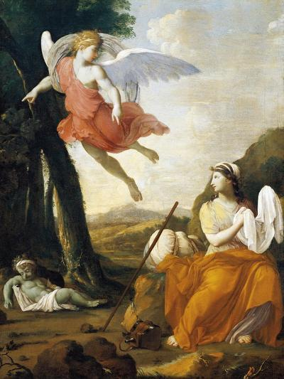 Hagar and Ishmael Saved by an Angel-Eustache Le Sueur-Giclee Print