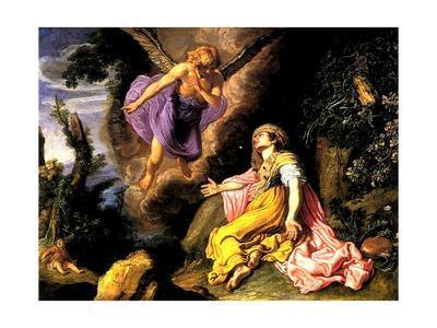 Hagar and the Angel, 1614-Pieter Lastman-Giclee Print