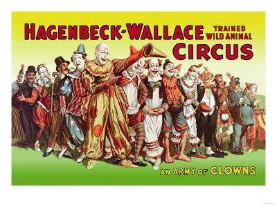 Hagenbeck-Wallace Circus, An Army of Clowns--Art Print