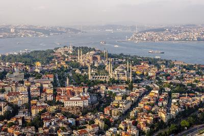 Hagia Sophia and the Blue Mosque, Aerial, Bosphorus, Istanbul, Turkey-Ali Kabas-Photographic Print