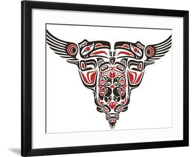 Haida Style Tattoo Design Created With Animal Images-Arty-Framed Art Print
