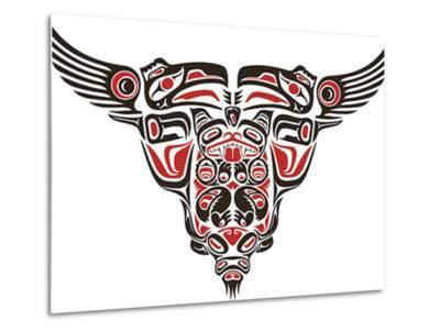 Haida Style Tattoo Design Created With Animal Images-Arty-Metal Print