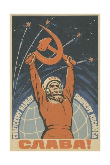 Hail the Soviet People - the Pioneer of Space, 1963-Vadim Petrovich Volikov-Giclee Print
