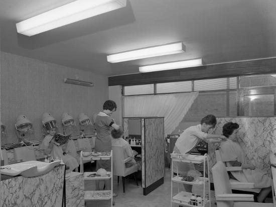 Hairdressers at Work, Armthorpe, Near Doncaster, South Yorkshire, 1961-Michael Walters-Photographic Print