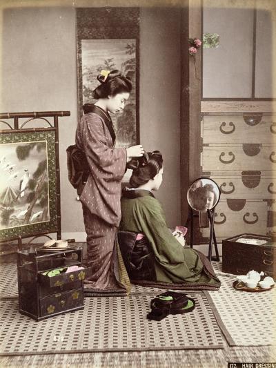 Hairdressing, Japan, circa 1880-Kusakabe Kimbei-Giclee Print