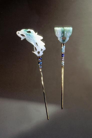 Hairpins with jade ends-Werner Forman-Giclee Print