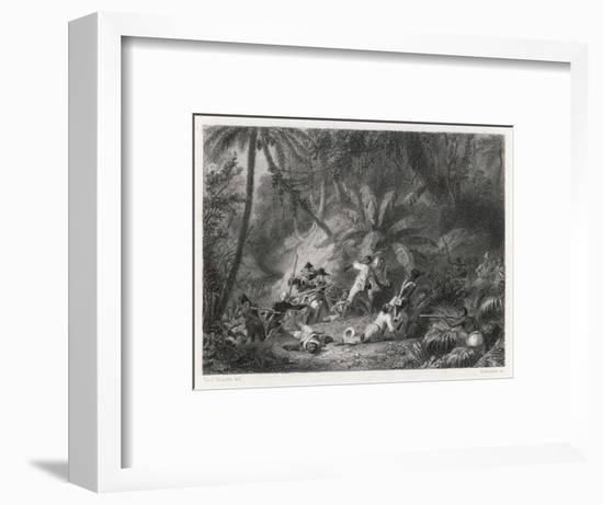 Haiti, San Domingo: Toussaint l'Ouverture is Defeated by the French at the Ravine aux Couleuvres-Karl Giraradet-Framed Giclee Print