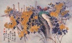 Chrysanthemums and Birds by Haizann Chen