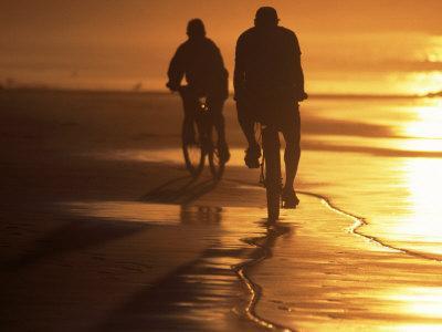 Couple Biking Toward Sunset, Monterey, CA