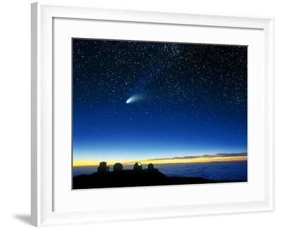 Hale-Bopp Comet And Telescope Domes-David Nunuk-Framed Photographic Print